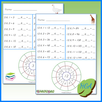 Multiplication Math Pages for Homeschool
