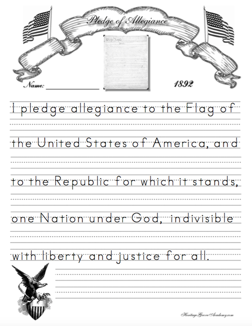 constitution preamble pledge of allegiance copywork heritage grove academy homeschool. Black Bedroom Furniture Sets. Home Design Ideas