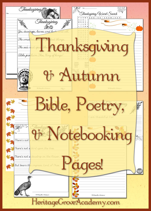 Thanksgiving and Autumn Copywork and Notebooking Pages