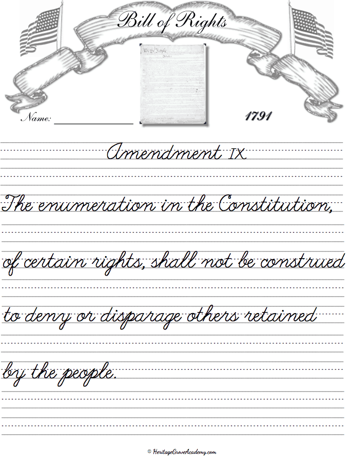 Bill of Rights Copywork Pages