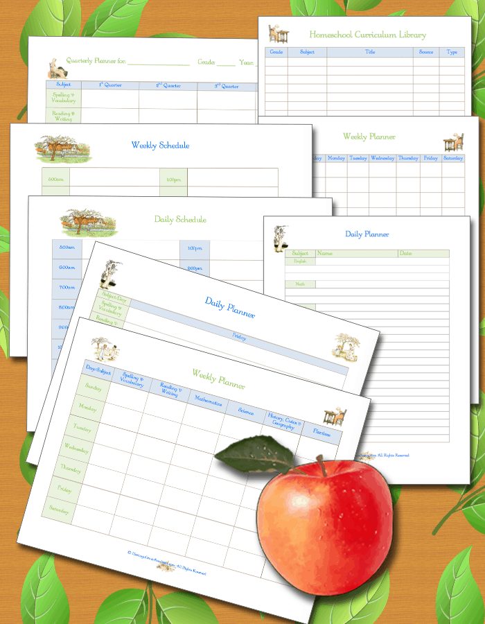Homeschool Daily Planning Pages Logs Forms Charts