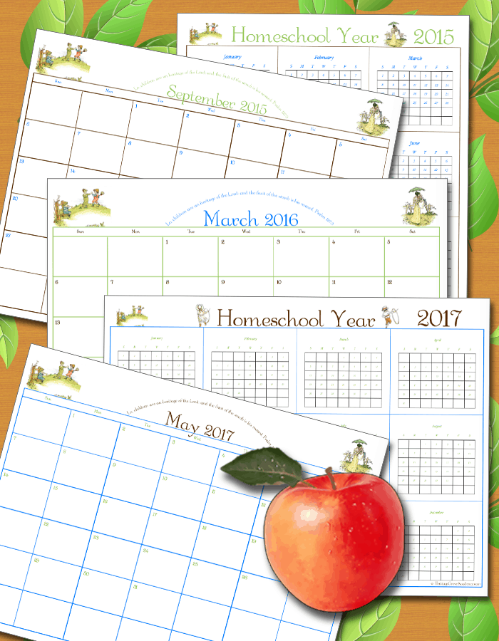Homeschool Calendar Pages Forms and Planning
