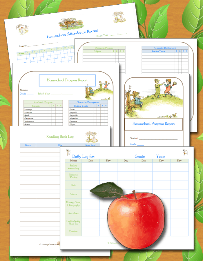 Attendance Record, Progress Report and Log for Homeschool