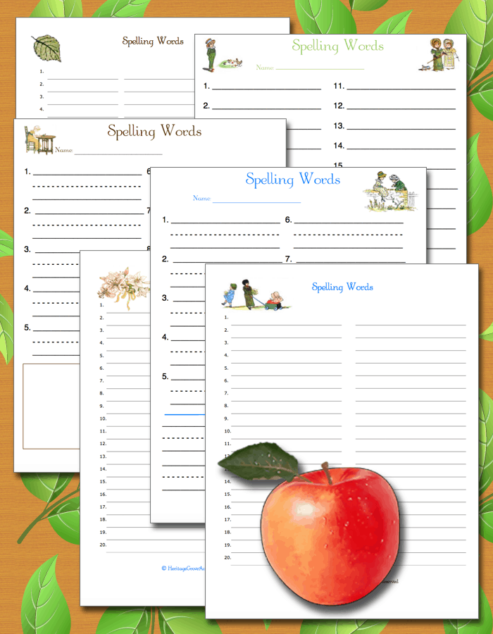Homeschool Spelling Pages