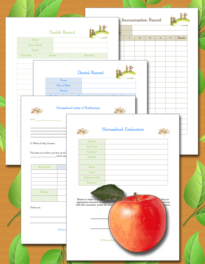Dental, Medical, Health, Shot Records, Letter of Notification, Evaluation for Homeschool