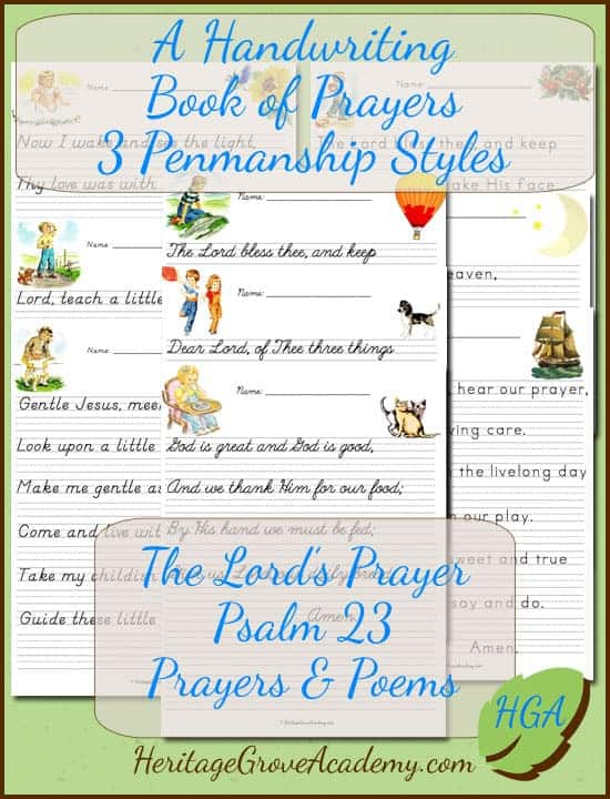 The Lord's Prayer Handwriting Book with Prayers and Psalm 23