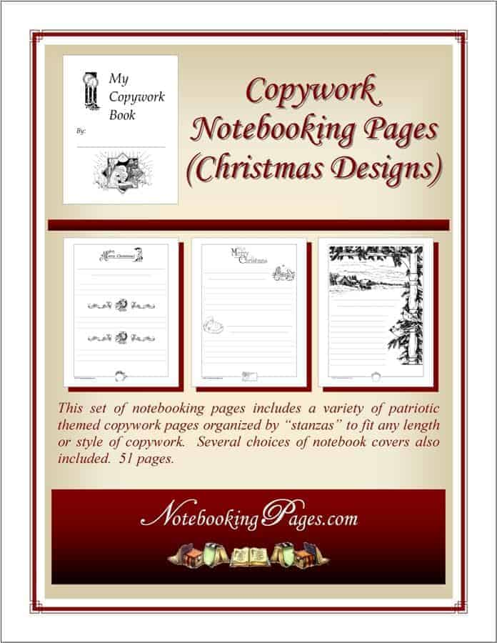 Writing Pages for Homeschool Christmas Designs