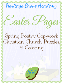 Spring Poetry Copywork - Easter Coloring - Puzzle Pages