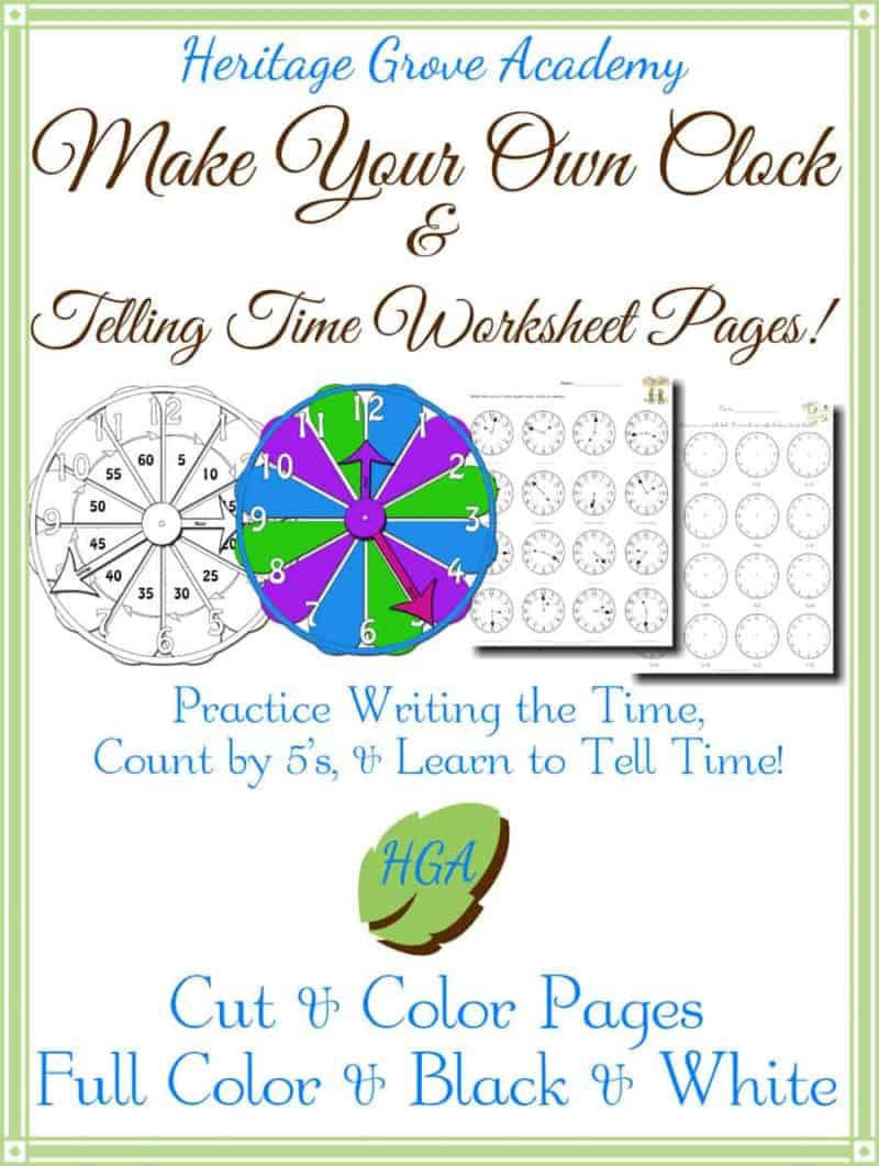 Cut Out Clock Pages - Time Telling Worksheets