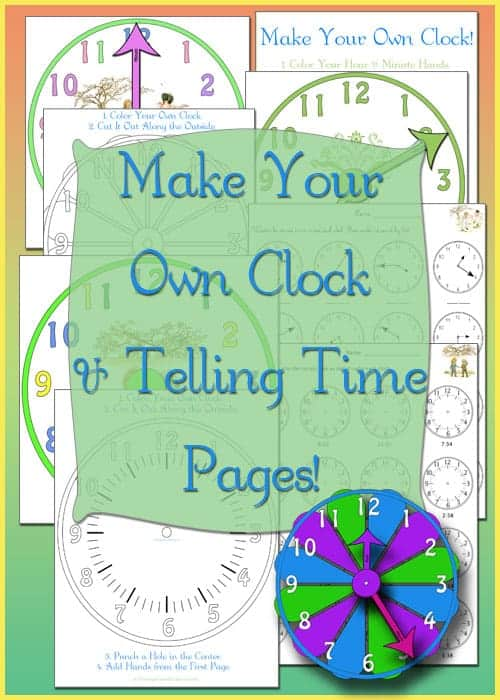 Cut Out Clocks - Tell Time Math Worksheets