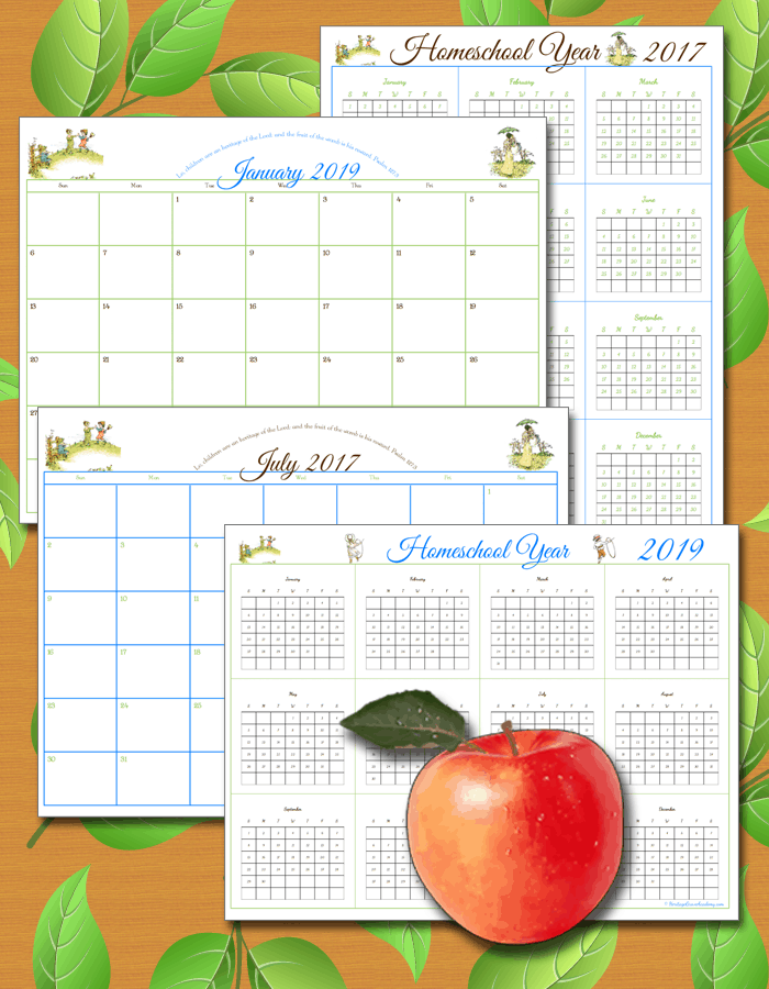 Homeschool Calendar Pages to Write In and Keep Records