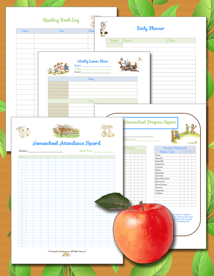 Homeschool Scholarship Records, Forms, Planning Pages