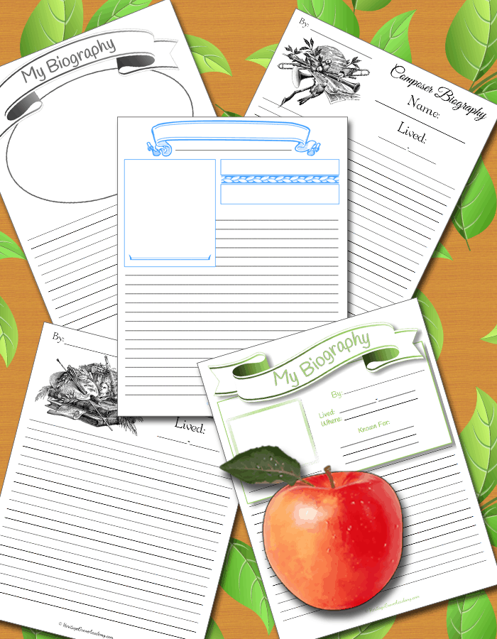 Homeschool Biography Pages and Book Reports