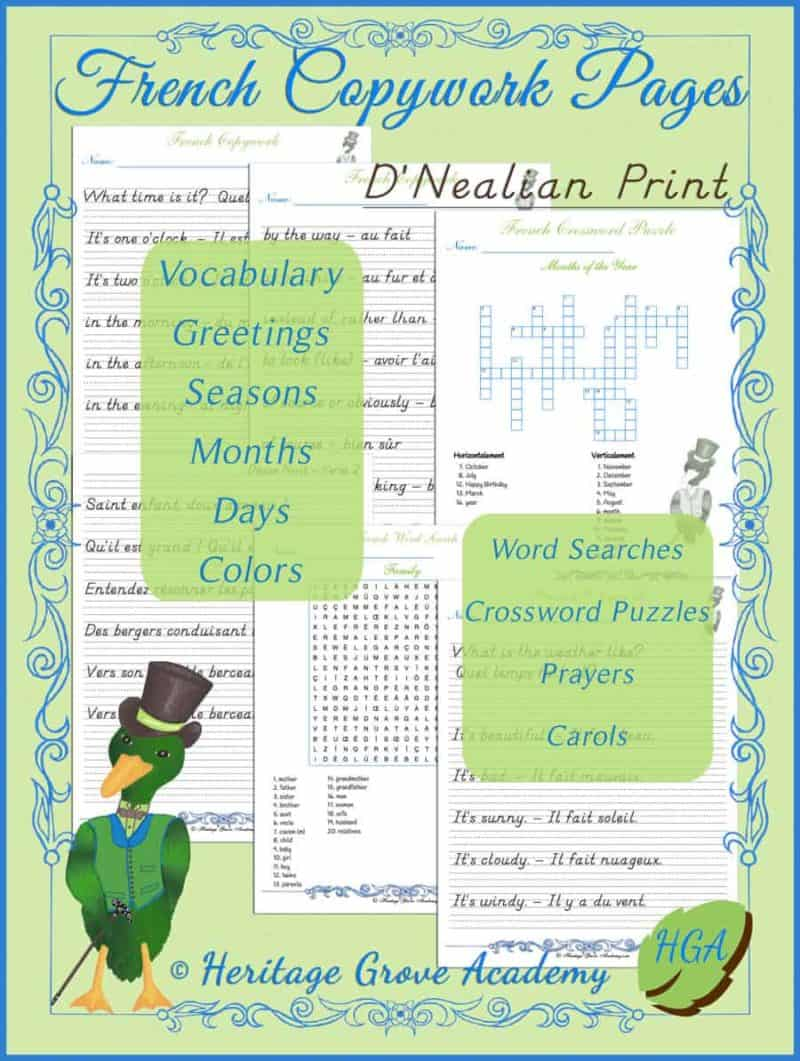 French Copywork Pages for Homeschool