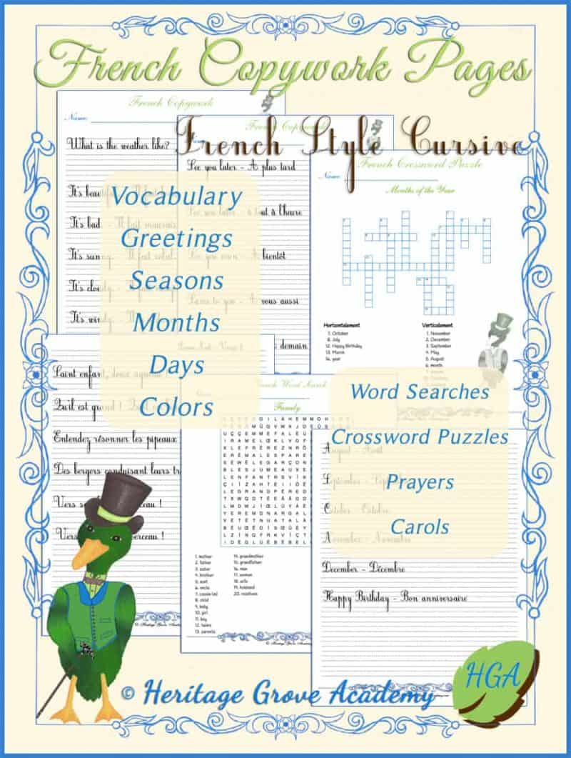 French Homeschool Writing Pages in Cursive