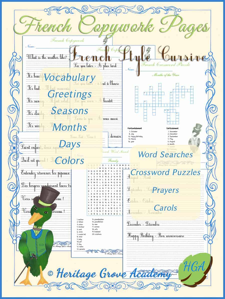 French Style Cursive Handwriting Copywork and Puzzles