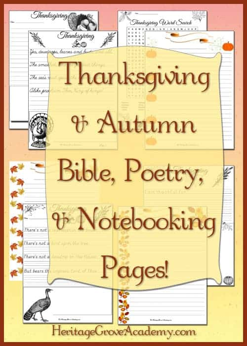Writing and Poetry Thanksgiving Pages for Homeschool