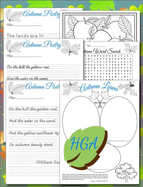 Autumn Poetry Copywork Fall Leaf Notebooking Coloring Pages