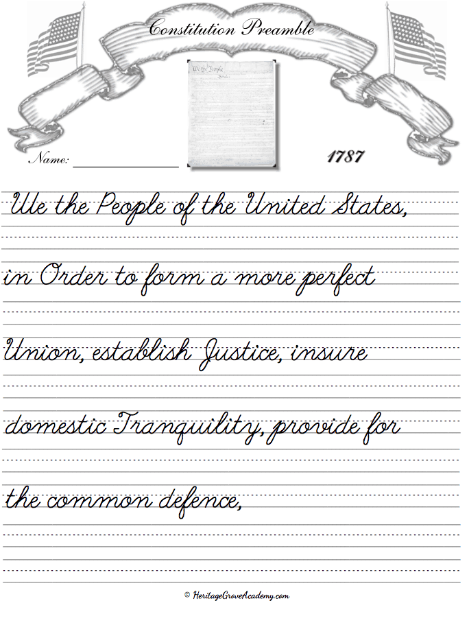 Constitution Preamble Copywork Pages