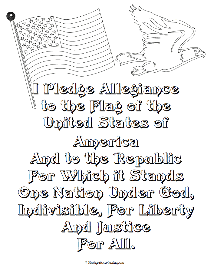 History Pledge of Allegiance Coloring Pages for Homeschool