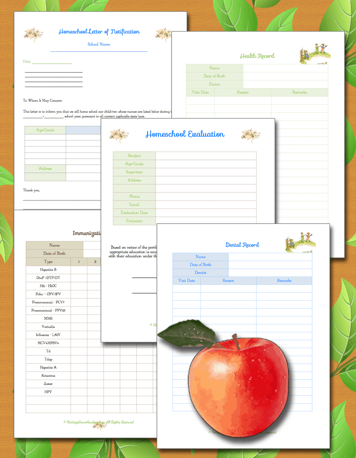 Homeschool Evaluation Page, Letter of Notification, Records, Forms