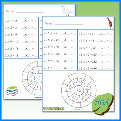 Free Multiplication Math Copywork Pages