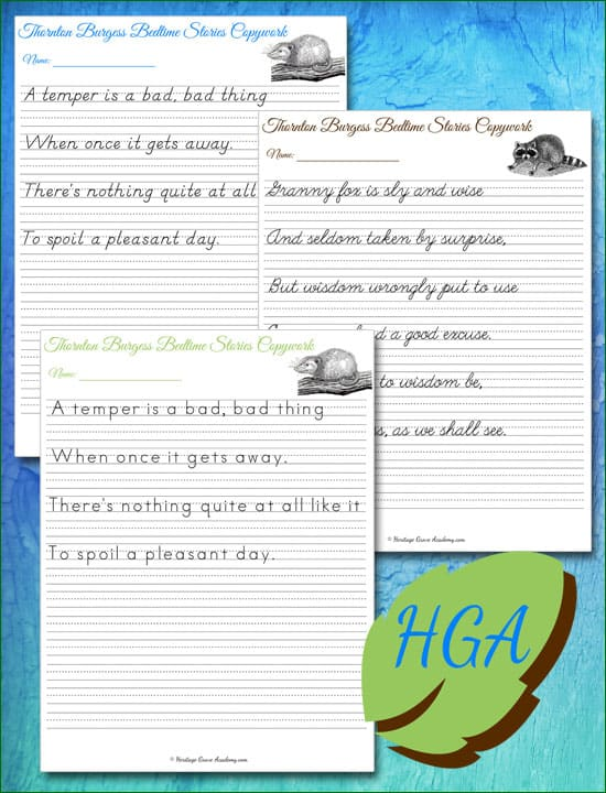 Handwriting Sample Pages for Poetry Penmanship Copywork Books