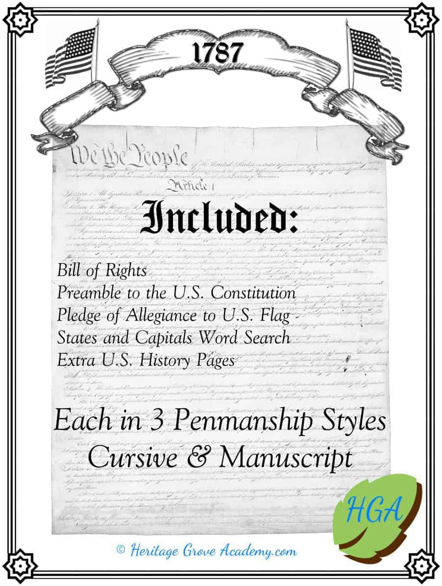 Constitution Handwriting Pages - Bill of Rights Preamble