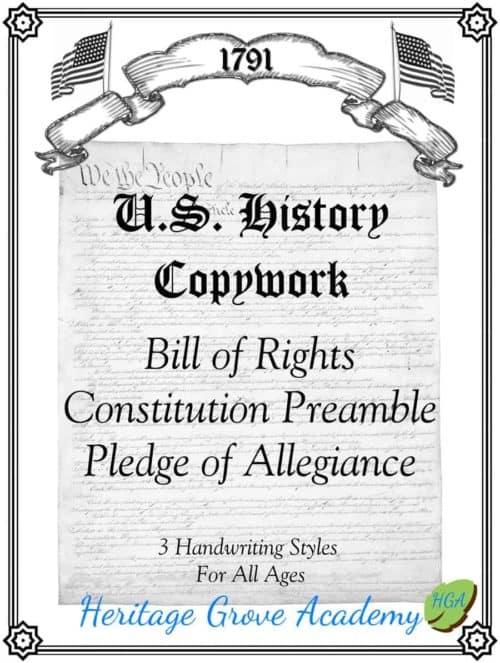 Constitution Handwriting Copywork Preamble Pledge of Allegiance