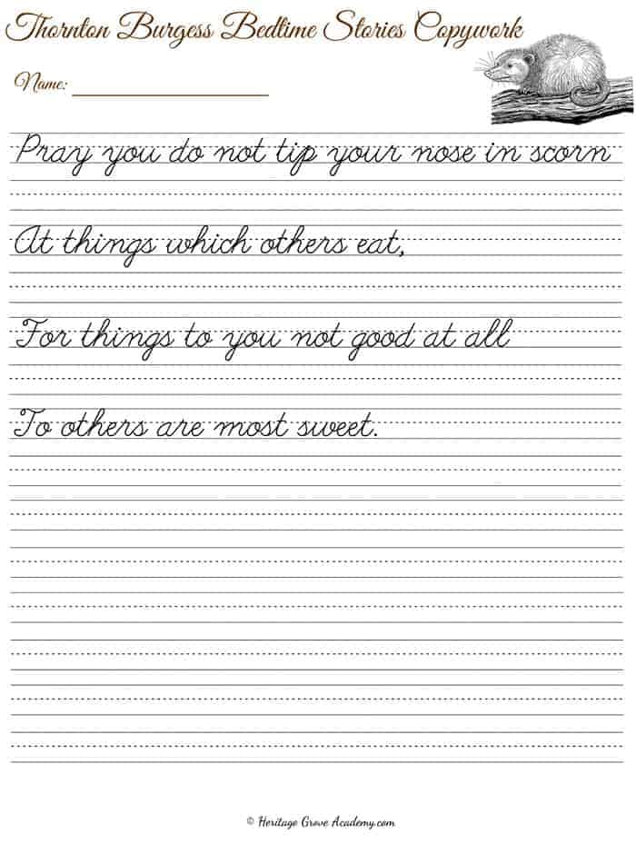 Handwriting Copywork Page