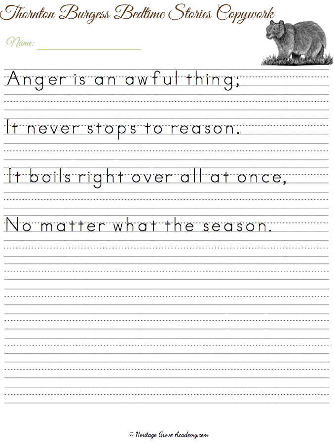 Handwriting Character Building Pages for Penmanship