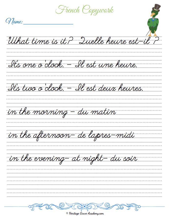 French Copywork for Homeschooling