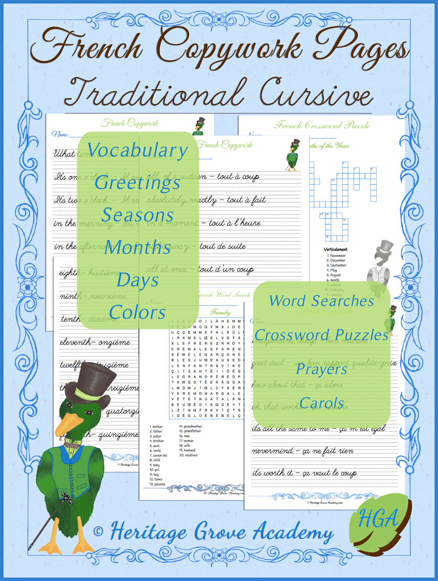 French Cursive Copywork Pages