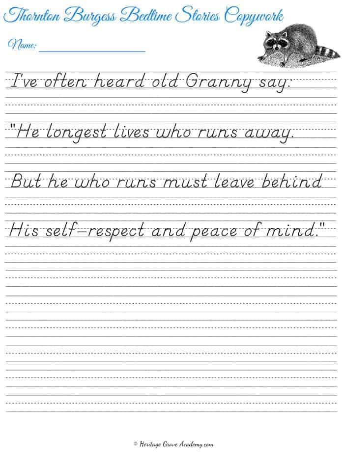 D'Nealian Slant Penmanship Poetry Handwriting