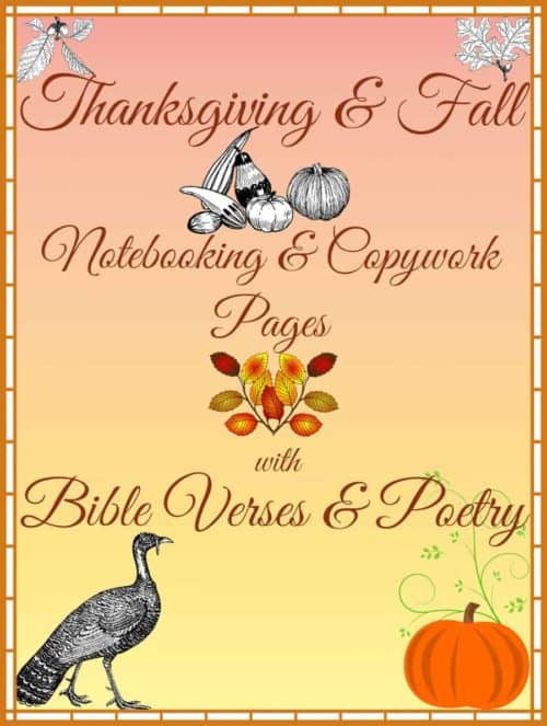 Thanksgiving Bible Verse and Poetry Handwriting and Fall Writing Pages