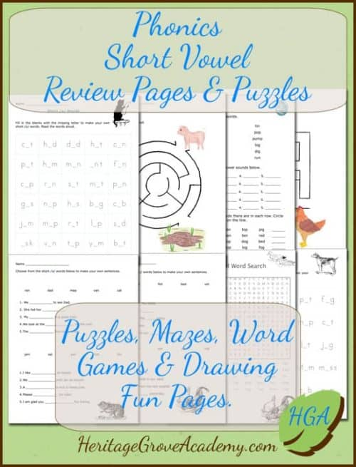 Short Vowel Puzzles and Worksheets